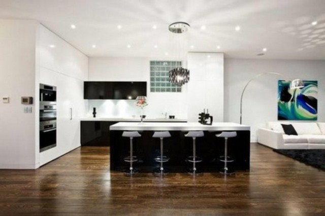 Pod oga drewniana w kuchni w - Suelos de casas modernas ...