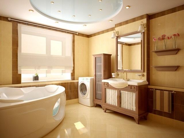 Aran acja azienek for Brown and yellow bathroom ideas